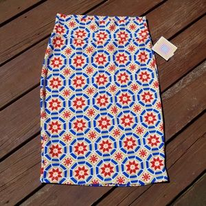 LuLaRoe Red/Yellow/Blue floral Cassie Skirt, M NWT